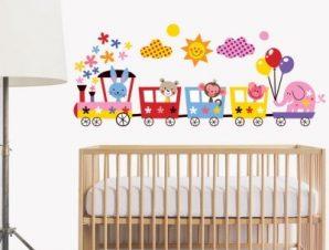 Τρενάκι με ζωάκια Παιδικά Αυτοκόλλητα τοίχου 32 x 80 cm