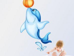 Δελφίνι με τόπι Παιδικά Αυτοκόλλητα τοίχου 66 x 38 cm