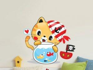 Γατάκι Παιδικά Αυτοκόλλητα τοίχου 51 x 55 cm