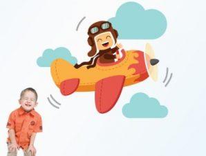 Αεροπλανάκι με συνεφάκια Παιδικά Αυτοκόλλητα τοίχου 47 x 55 cm