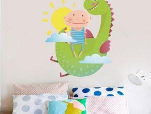Παιδάκι με δράκο Παιδικά Αυτοκόλλητα τοίχου 50 x 45 cm