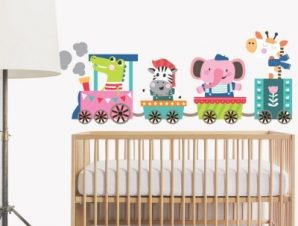 Τρενάκι Παιδικά Αυτοκόλλητα τοίχου 32 x 82 cm