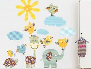 Ρετρό Ζωάκια Παιδικά Αυτοκόλλητα τοίχου 78 x 80 cm