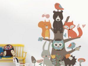 Παστέλ ζώακια Παιδικά Αυτοκόλλητα τοίχου 79 x 66 cm