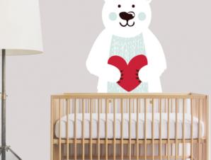 Αρκούδος που κρατάει καρδούλα Παιδικά Αυτοκόλλητα τοίχου 52 x 40 cm
