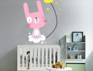 Λαγουδάκι ροζ Παιδικά Αυτοκόλλητα τοίχου 74 x 56 cm