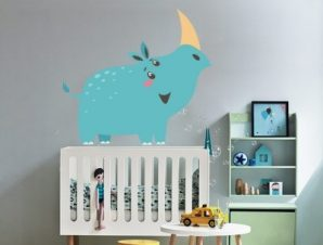 Ρινόκερος Παιδικά Αυτοκόλλητα τοίχου 60 x 65 cm
