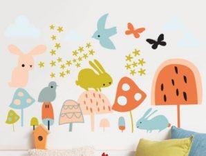 Ζωάκια σε παστέλ αποχρώσεις Παιδικά Αυτοκόλλητα τοίχου 36 x 60 cm