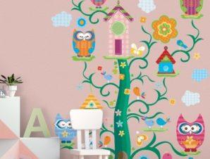 Δεντρόσπιτο και κουκουβάγιες Παιδικά Αυτοκόλλητα τοίχου 43 x 35 cm