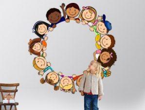 Παιδιά όλου του κόσμου Παιδικά Αυτοκόλλητα τοίχου 45 x 45 cm