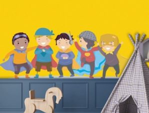 Φίλοι σούπερ ήρωες Παιδικά Αυτοκόλλητα τοίχου 25 x 65 cm