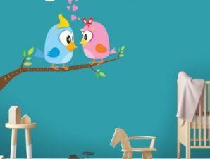 Ερωτευμένα πουλάκια Παιδικά Αυτοκόλλητα τοίχου 68 x 65 cm