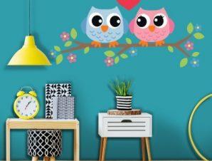 Πουλάκια πάνω σε κλαδί Παιδικά Αυτοκόλλητα τοίχου 32 x 65 cm