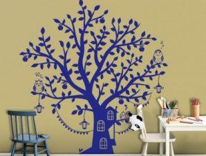 Μπλε δεντρόσπιτο Παιδικά Αυτοκόλλητα τοίχου 104 x 80 cm