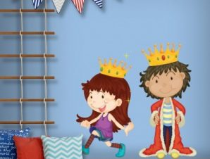 Μικροί βασιλιάδες Παιδικά Αυτοκόλλητα τοίχου 40 x 40 cm