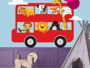 Λεωφορείο με ζωάκια Παιδικά Αυτοκόλλητα τοίχου 27 x 65 cm
