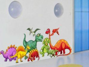 Παρέα από δεινοσαυράκια Παιδικά Αυτοκόλλητα τοίχου 23 x 65 cm