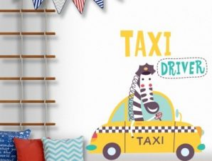 Taxi driver Παιδικά Αυτοκόλλητα τοίχου 45 x 45 cm