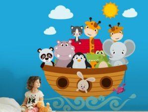 Ζωάκια σε βαρκούλα Παιδικά Αυτοκόλλητα τοίχου 39 x 35 cm