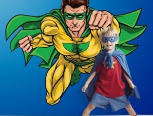 Σούπερ ήρωας πετάει Παιδικά Αυτοκόλλητα τοίχου 53 x 65 cm