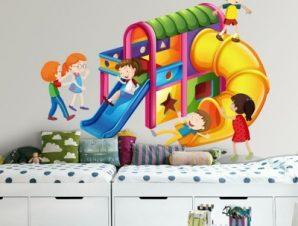 Τσουλήθρα, παιδική χαρά Παιδικά Αυτοκόλλητα τοίχου 28 x 35 cm
