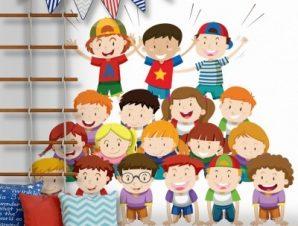 Ομαδική φωτογραφία παιδιών Παιδικά Αυτοκόλλητα τοίχου 45 x 45 cm
