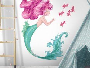 Γοργόνα με ροζ μαλλιά Παιδικά Αυτοκόλλητα τοίχου 105 x 80 cm