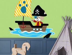 Πειρατική βάρκα Παιδικά Αυτοκόλλητα τοίχου 45 x 45 cm