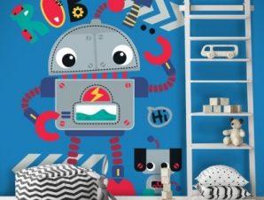 Γεια σου Ρομποτάκι Παιδικά Αυτοκόλλητα τοίχου 42 x 35 cm