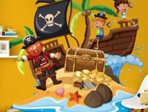 Πειρατές σε νησί Παιδικά Αυτοκόλλητα τοίχου 45 x 45 cm