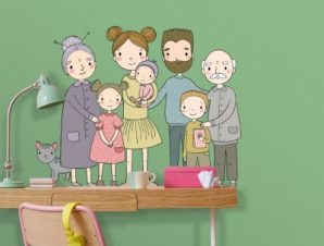 Οικογενιεακή φωτογραφία Παιδικά Αυτοκόλλητα τοίχου 51 x 65 cm