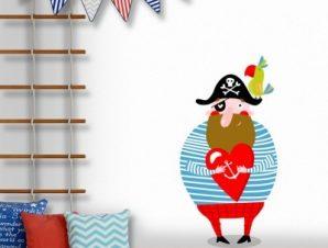 Πειρατής που κρατάει καρδούλα Παιδικά Αυτοκόλλητα τοίχου 69 x 35 cm