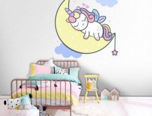 Πόνι που κοιμάται στο φεγγάρι Παιδικά Αυτοκόλλητα τοίχου 45 x 45 cm
