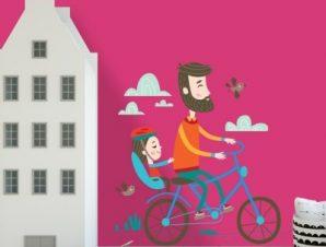 Βόλτες με ποδήλατο Παιδικά Αυτοκόλλητα τοίχου 45 x 45 cm