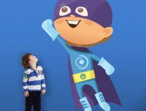 Παιδάκι σούπερ ήρωας Παιδικά Αυτοκόλλητα τοίχου 57 x 35 cm