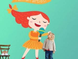 Κορίτσι καλλιτέχνης Παιδικά Αυτοκόλλητα τοίχου 52 x 35 cm