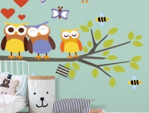 Ερωτευμένες κουκουβάγιες Παιδικά Αυτοκόλλητα τοίχου 136×78 cm (card size)