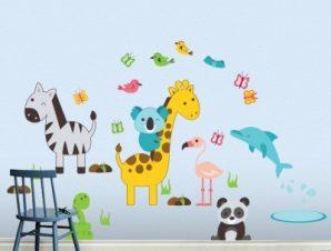 Διάφορα ζωάκια Παιδικά Αυτοκόλλητα τοίχου 126×75 cm (card size)