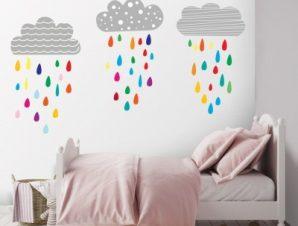 Συννεφάκια που βρέχουν Παιδικά Αυτοκόλλητα τοίχου 103×50 cm (card size)