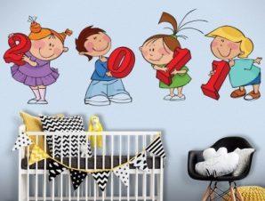 Παιδάκια με αριθμούς Παιδικά Αυτοκόλλητα τοίχου 110×41 cm (card size)