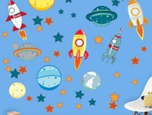 Το διάστημα Παιδικά Αυτοκόλλητα τοίχου 135x96cm(card size)