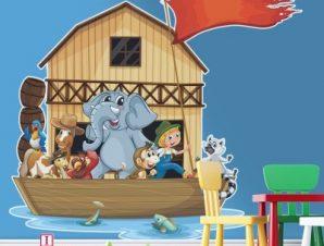 Ο Νώε και τα ζώα Παιδικά Αυτοκόλλητα τοίχου 50 x 55 cm