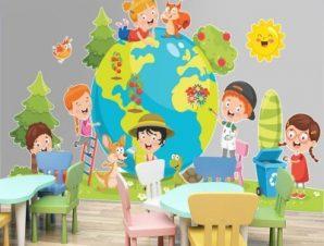 Υδρόγειος σφαίρα Παιδικά Αυτοκόλλητα τοίχου 40 x 70 cm