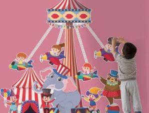 Καρουζέλο τσίρκο Παιδικά Αυτοκόλλητα τοίχου 57 x 55 cm