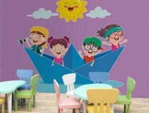 Χάρτινο καραβάκι Παιδικά Αυτοκόλλητα τοίχου 48 x 50 cm