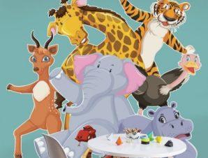 Ζώα που χορεύουν Παιδικά Αυτοκόλλητα τοίχου 52 x 55 cm