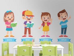 Γράψε, διάβασε, άκου, μίλα Παιδικά Αυτοκόλλητα τοίχου 33 x 70 cm