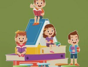Παιδιά κάθονται πάνω στο βιβλίο Παιδικά Αυτοκόλλητα τοίχου 54 x 65 cm