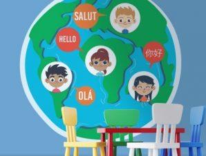 Γεια σε διάφορες γλώσσες Παιδικά Αυτοκόλλητα τοίχου 54 x 55 cm