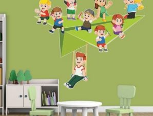 Σαΐτα με παιδάκια Παιδικά Αυτοκόλλητα τοίχου 58 x 65 cm